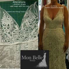 We can add inset to the see-through bodice of your wedding dress.  Just book an appointment to bring your dress in to discuss  #monbellebridal #weddingdressalterations #perthbridal #perthbrides #perthwedding