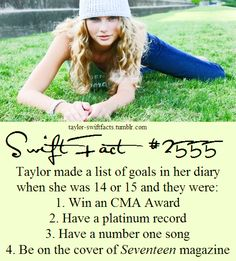 Taylor Swift goals at age Aww they all came true! All About Taylor Swift, Taylor Swift Facts, Long Live Taylor Swift, Taylor Swift Quotes, Taylor Swift Pictures, Taylor Alison Swift, Cma Awards, Swift 3, Celebs