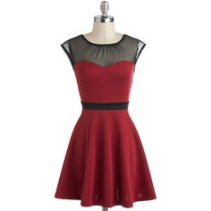 ModCloth Vintage Inspired Short Length Cap Sleeves A-line Belle ($45) ❤ liked on Polyvore featuring dresses, modcloth, red, vestidos, burgundy, apparel, fancy dress, red a line dress, a line dress and red cocktail dress