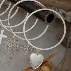 www.Lizzielane.com Tutti and Co Silver Bangle with Dragonfly or Heart Charm Now £10 http://www.lizzielane.com/product/tutti-co-silver-bangle-dragonfly-heart-charm/