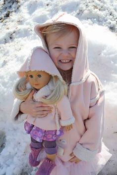 """Cute matching Sherpa jackets for your girl and her American Girl 18"""" Doll. Tips for sewing by weallsew.com."""