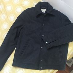 Jcrew button jacket - 80%wool 20%nylon Grey button down jacket - front pockets - perfect condition ***offers welcome!*** J. Crew Jackets & Coats