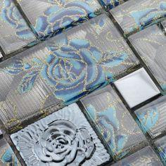 Crystal Gl Mosaic Tile Squares Blue Rose Pattern Stainless Steel Backsplash Metallic Tiles Wall