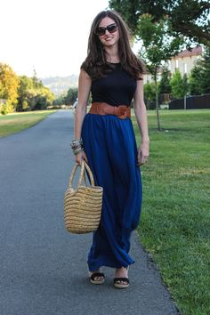 blue maxi skirt and tee..love minus the sandals.