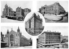 Clockwise from top left: Johannesburg Hospital - The upkeep of this Institution is supported by public subscriptions and contributions from the Government. The Stock Exchange - Built at a cost of Carlton Hotel - One of the finest hotels Awesome photo. Johannesburg City, Carlton Hotel, Fine Hotels, My Family History, Inner World, South Africa, Landscape Photography, Architecture, Offices