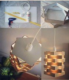 """20 curtidas, 2 comentários - Bau das Dicas (@baudasdicasof) no Instagram: """"Como transformar caixas de pizzas em um lindo lustre! #diydecoration #diy #decor #decoração…"""""""