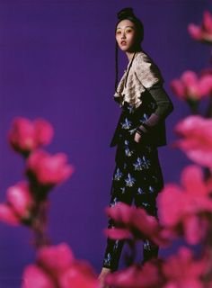 A Fendi Spring/Summer 2015 orchid print look featured in Marie Claire, Hong Kong Edition