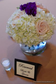 garden roses; white hydrangea (everything but the purple)