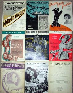 4A Lot 9 Vintage Sheet Music Variety 1920's -1950's Collectible Paper marie2art