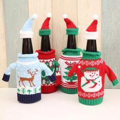 2017 New Red Wine Bottle Cover Bags Christmas Dinner Table Decoration Home Party Decors Santa Claus