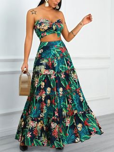 Tropical Print Crop Top & Maxi Skirt Set Shop- Women's Best Online Shopping - Offering Huge Discounts on Dresses, Lingerie , Jumpsuits , Swimwear, Tops and More. Trend Fashion, Fashion Mode, Womens Fashion, Hippie Chic Fashion, Fashion Black, Latest Fashion, Style Fashion, Winter Fashion, Maxi Skirt Crop Top