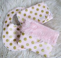 Valentine's Gift Set - Pink Gold Baby Girl Blanket - Pink Gold Bib and Burp Cloth Set