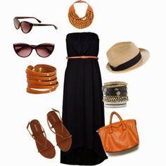 I like the dress, hat, shoes, bag!!