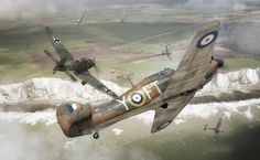 Hawker Hurricane vs Stuka by Adam Tooby -  On 16th August 1940 F/O Frank Carey in hurricane R4109 led 'A' flight of 43Sqn into waves of Ju-87's, escorted by Bf 109's. Though hopelessly outnumbered, Carey accounted for four Ju-87's before running out of ammunition.
