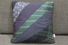Cushion made from men's neck ties of favious blue and green shades
