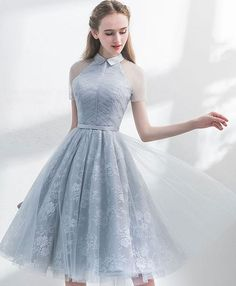 Unique gray tulle lace short prom dress, gray evening dress