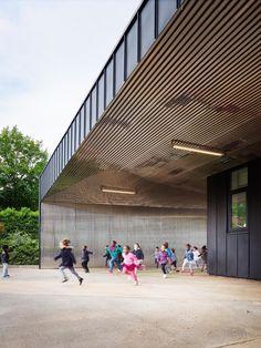 graal architecture, David Foessel · Nursery School Extension a Mantes-la-Ville Architecture Design, University Architecture, Facade Design, School Architecture, Contemporary Architecture, School Entrance, School Places, Steel Image, Nursery School