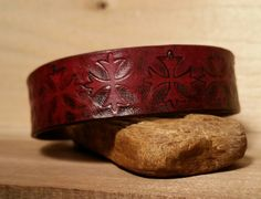 Large Leather Bracelet/Cuff-Antiqued Red & Black by LeatherVision
