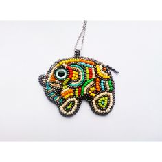Elephant Necklace Elefant Pedant Embroidered Necklace Silver Chain... (190 PLN) via Polyvore featuring jewelry, necklaces, embroidered necklace, beaded necklaces, silver jewelry, silver necklace i silver jewellery