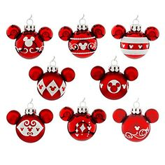 Disney Mickey Mouse Icon Christmas Ornament Set - Red