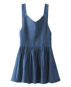 Sweet Bowknot-embellished Denim Overall Dress