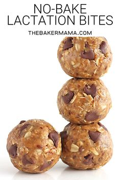 No-Bake Lactation Bites - 2 cups old-fashioned oats ½ cup ground flaxseed 3 tablespoons brewer's yeast 1 cup peanut butter ½ cup honey 1 teaspoon vanilla ½ cup dark chocolate chips. Def make for anyone who is breastfeeding! Healthy Recipes, Baby Food Recipes, Healthy Snacks, Cooking Recipes, Bread Recipes, Chocolate Chip Oatmeal, Chocolate Chips, Chocolate Cookies, Flourless Chocolate