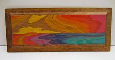 water sunset, ocean sunset painting, abstract painting, abstract seascape, up-cycled wood painting, original art