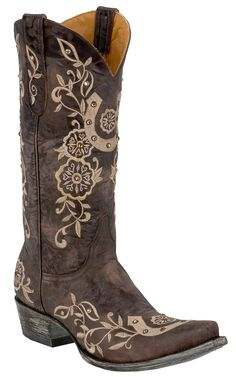 Old Gringo® Ladies Chocolate w/ Natural Embroidered Lucky Horseshoe Snip Toe Boot | Cavender's Boot City  -goes with irish upturned horseshoe tradition-