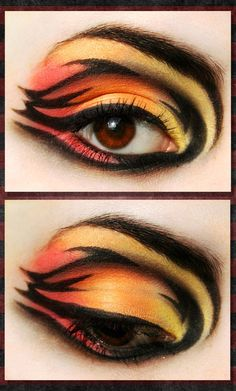 "I kind of have to agree. I thought of a tiger when I saw this. but could be used for fire inspiration as well. Pinner said: So this is supposed to be ""The Hunger Games: Girl on Fire"", but I'm really feeling some THUNDERCATS! By on deviantART Tiger Makeup, Eye Makeup Art, Simple Eye Makeup, Dramatic Makeup, Eye Art, Leopard Makeup, Fairy Makeup, Hunger Games Makeup, Fantasy Make Up"