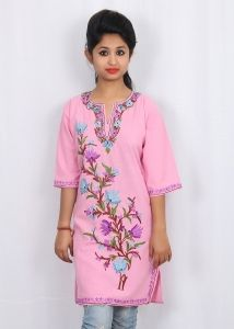 Pinkcolor kurti  kashmiri aari work embroidery  cotton -summer cool