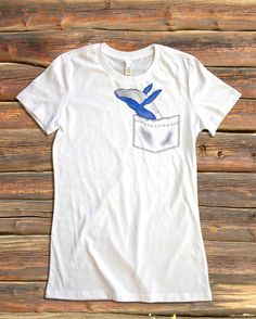 Breaching Whale Pocket Some shirt styles run small.. PLEASE VIEW SHIRT SIZES BEFORE PURCHASING: https://www.etsy.com/listing/216514245/womens-shirt-style-and-sizes  NOTE: SWEATSHIRT AND HOODIE SIZES ARE UNISEX  Bee's Pocket Tees are cotton pocketless shirts with custom designs that create clever and imaginative virtual pockets! With over 40 original, hand-drawn designs, be sure to check out our entire shop to find the perfect pocket tee for you, or a unique gift for anyone!   WOMENS WHITE…