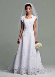 bridal gowns  modest gowns, bride, dresses, a-line, satin, long, square, natural, cap, formal