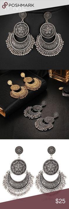 Hot Vintage Retro Antique Silver Earrings Hot Vintage Gold Color Stud Earrings Retro Silver Color Flower Earring For Fashion Women Accessories Queen Esther Etc Jewelry Earrings