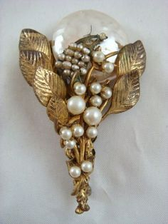 Vintage Miriam Haskell Signed Floral Bouquet and Moon Gold Tone Brooch Pin | eBay