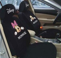 New Mickey Minnie Mouse Love Car Seat Covers Black