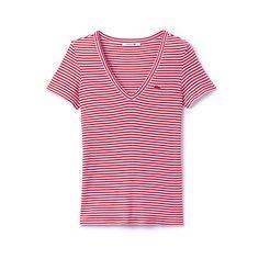 7c42f5e80f608 Women s V-neck t-shirt in soft striped jersey