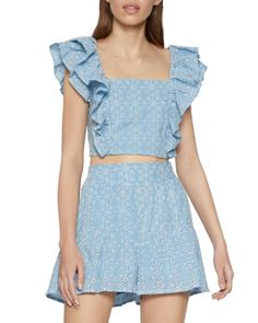 Eyelet Top, Ruffle Top, Two Piece Outfit, Two Piece Skirt Set, Toe Loop Sandals, Summer Outfits, Summer Clothes, Bcbgeneration, Fashion Dresses