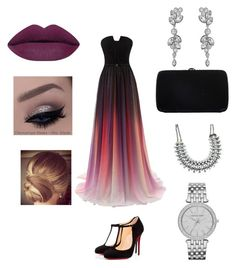 """Evening"" by acyoyo ❤ liked on Polyvore featuring Christian Louboutin, Sergio Rossi, Swarovski and Michael Kors"