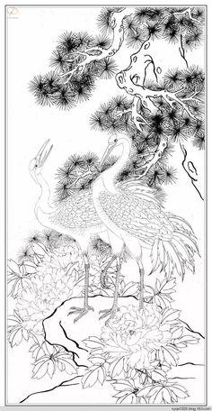 Korean Painting, Chinese Painting, Animal Drawings, Art Drawings, Crane Drawing, Chinese Picture, Japanese Art Styles, Pyrography Patterns, Tibetan Art
