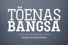 Ad: Toenas Bangsa Family OFF by Bang Kumis Typefoundry on Designed and built in Jakarta,Indonesia by Endang Hidayat (Bang Kumis Typefoundry). Toenas Bangsa Slab is clean rounded slab serif font. Slab Serif Fonts, Serif Typeface, Bold Fonts, New Fonts, Light Font, Script Type, Type Fonts, Script Fonts, Lettering Styles