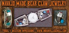 Assorted Navajo Made Bear Claw Jewelry- Watch, ring, Cuff Bracelet - from Tribal And Western Impressions- Old West Cowboy And Indian Store - www.indianvillagemall.com