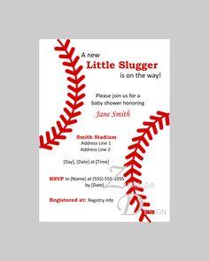 Baseball / Softball Themed Baby Shower / Birthday Invitation - Printable