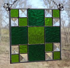 Stained Glass Panel Suncatcher Quilt Block Green Thrifty Square Pattern