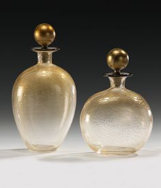 hand-blown Venetian glass bottles with clear and gold Murano glass; made in Murano Island, Italy; Murano glass bottles; Murano glass…