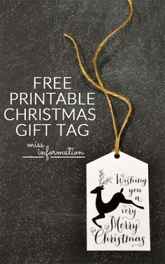Fun free printable Christmas gift tags! Print in navy or black.