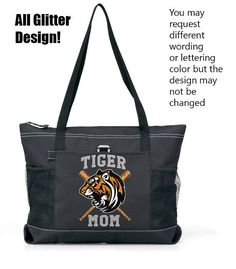 Full Color Glitter Design.  Go Tigers.  A Large Sport Tote