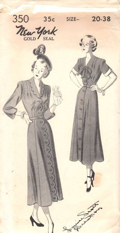 New York 350 1950s Misses LOUISE SCOTT  Scallop or Straight Button Front Womens Dress Pattern vintage sewing pattern  by mbchills