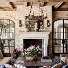 Online Exclusive - Exterior : Gisele Bündchen and Tom Brady's House in Los Angeles : Architectural Digest Architectural Digest, French Country Fireplace, French Country Living Room, French Living Rooms, Rustic French Country, Country Chic, Tom Bradys House, Formal Living Rooms, Living Spaces