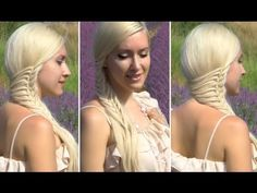 Romantic hairstyle for long hair with a side swept braid (french mermaid / cage braid)