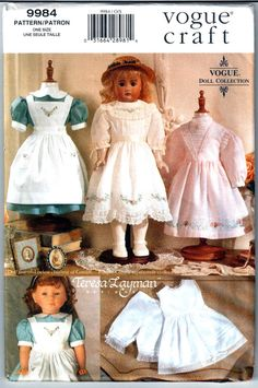 Vogue 9984  Teresa Layman Old Fashioned Doll Clothes Pattern for 18 Inch Dolls Sewing Pattern Uncut. $30.00, via Etsy.